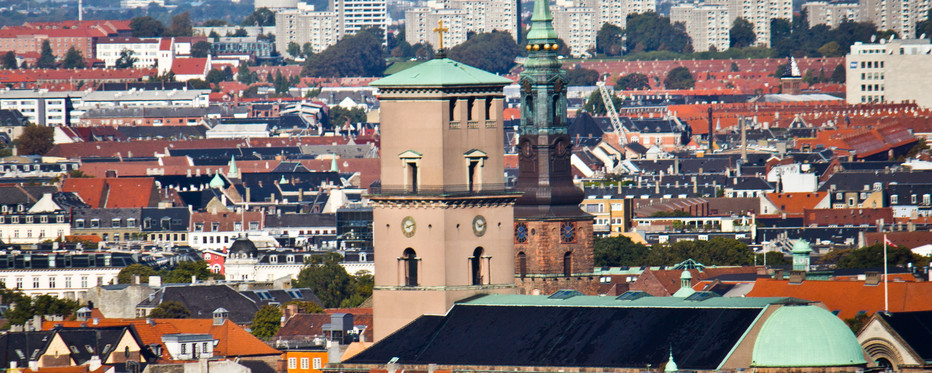 Copenhagen skyline with the Caopenhagen Cathedral in the center