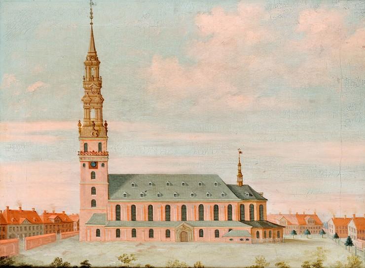 Gammelt maleri med kirkebygning. Til højre et stort tårn med spir.
