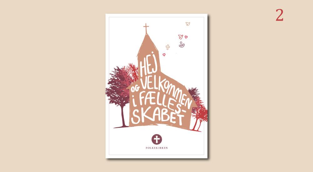 Postkort med tegning af kirke og teksten 'Velkommen i fællesskabet'