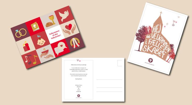 Tre postkort med forskellige motiver
