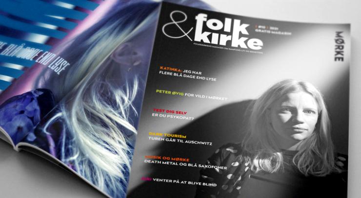 Opslag og forsiden af det nye nummer af magasinet folk&kirke
