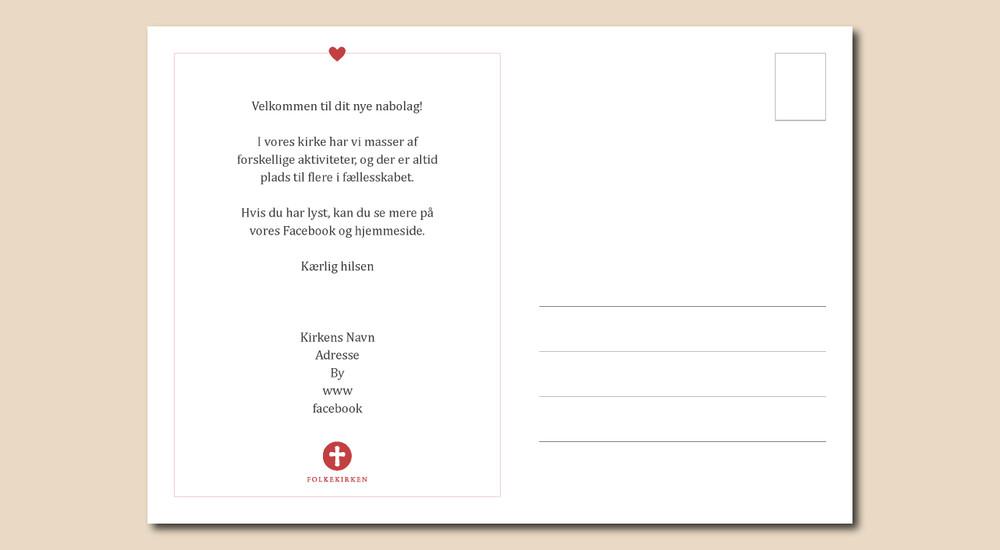 Bagside af postkort med velkomsttekst